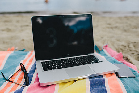laptop at beach